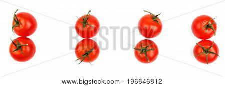 Couples of tasteful and bright red tomatoes isolated over the white background. Tasteful and nutritious tomatoes for a healthful ketchup. Agriculture, veggies and salads concept.