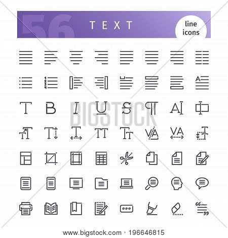 Set of 56 text editor line icons suitable for web, infographics and apps. Isolated on white background. Clipping paths included.