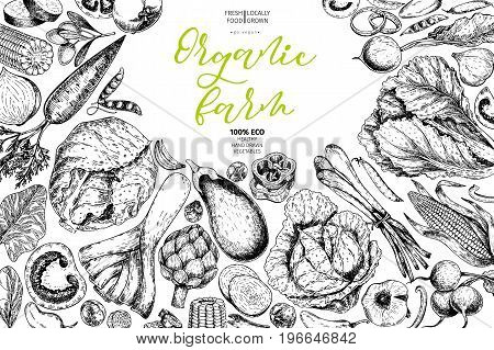 Vector hand drawn farm vegetables. Frame composition. Tomato, onion, cabbage, pepper, leek. Engraved art. Organic sketched vegetarian objects. restaurant, menu grocery market store party meal