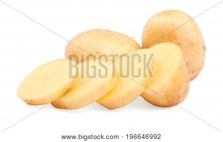 A close-up picture of light brown potatoes. Fresh and tasteful potatoes isolated on a white background. Carefully sliced potatoes for healthful vegetarian diets. Beautiful raw potato tubers.