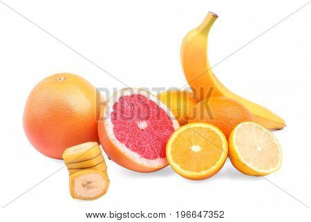 Different tasteful citruses isolated on a white background. Raw cut grapefruits, ripe oranges, banana slices and yellow lemons. Fresh and organic citruses for delicious fruit salads.