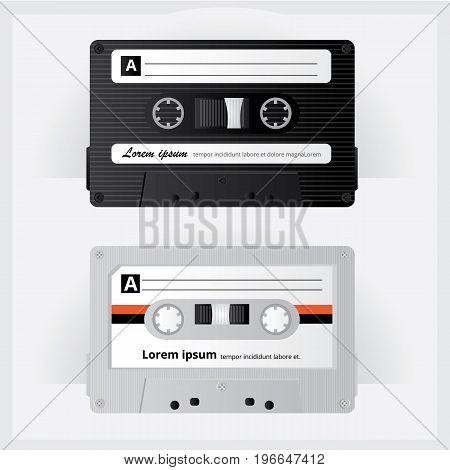 Realistic Vintage Oldies Cassette Tape Vector Illustration