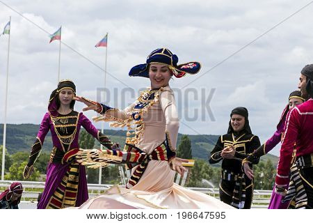 PYATIGORSK,RUSSIA - JULY 23,2017:Highland Dance in execution Folk Dance Ensemble of the Peoples of the Caucasus