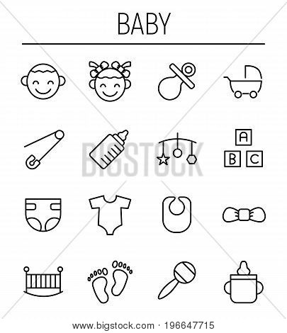 Set of baby icons in modern thin line style. High quality black outline kid symbols for web site design and mobile apps. Simple baby pictograms on a white background.