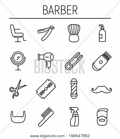 Set of barber in modern thin line style. High quality black outline barber shop symbols for web site design and mobile apps. Simple linear hair care pictograms on a white background.