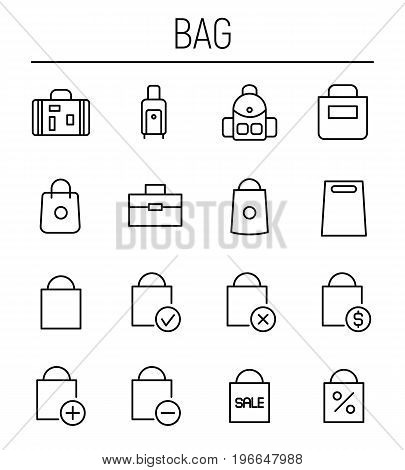 Set of bag in modern thin line style. High quality black outline fashion symbols for web site design and mobile apps. Simple bag pictograms on a white background.