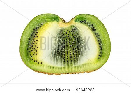 Slice of fresh kiwi fruit isolated on white background