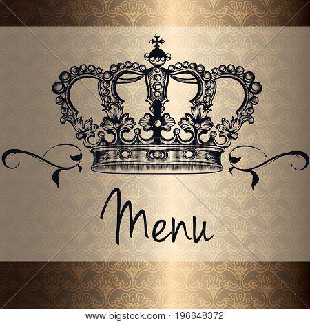 Elegant vector menu design or card with king heraldic crown