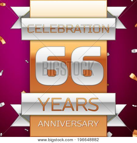 Realistic Sixty six Years Anniversary Celebration Design. Silver and golden ribbon, confetti on purple background. Colorful Vector template elements for your birthday party. Anniversary ribbon