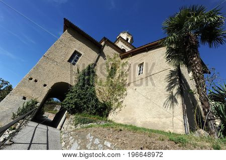 Carona, Switzerland - 1 november 2015: The ancient church in Carona, Ticino, Switzerland