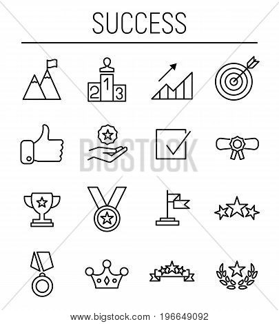 Set of success icons in modern thin line style. High quality black outline achievement symbols for web site design and mobile apps. Simple success pictograms on a white background.