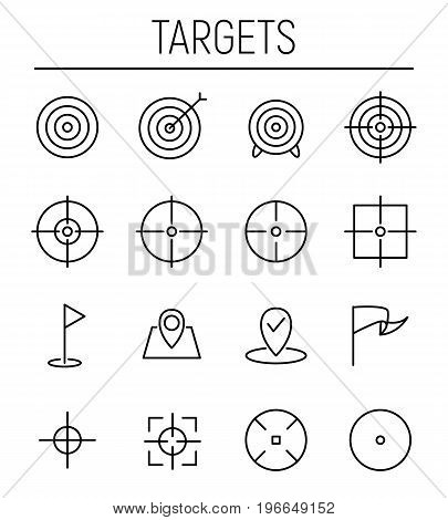 Set of target icons in modern thin line style. High quality black outline goal symbols for web site design and mobile apps. Simple target pictograms on a white background.