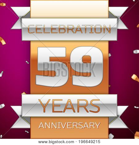 Realistic Fifty nine Years Anniversary Celebration Design. Silver and golden ribbon, confetti on purple background. Colorful Vector template elements for your birthday party. Anniversary ribbon