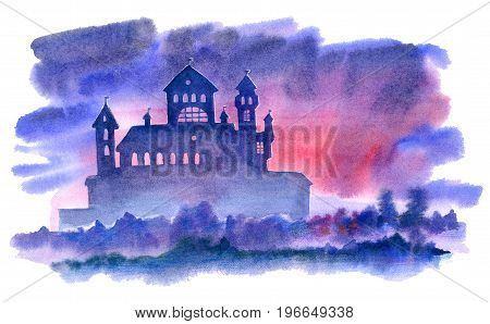 Landscape of castle, fog and forest.Mystical night view.Watercolor hand drawn illustration