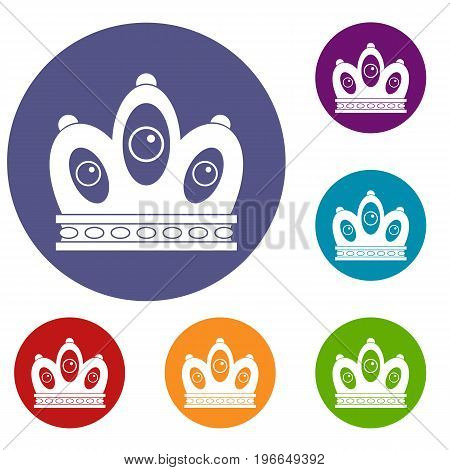 Queen crown icons set in flat circle red, blue and green color for web