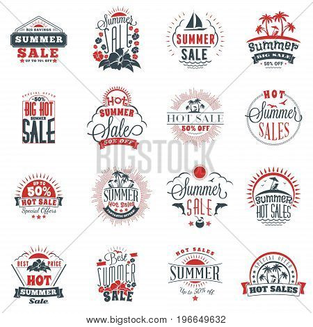 Set of summer sale promotional emblem design. Typographic retro style summer advertising badges for banner or poster. Red and black color theme. Isolated on white. Vector illustration