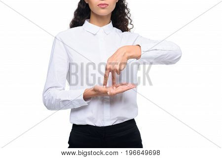 Cropped View Of Beautiful Woman Gesturing Signed Language, Isolated On White