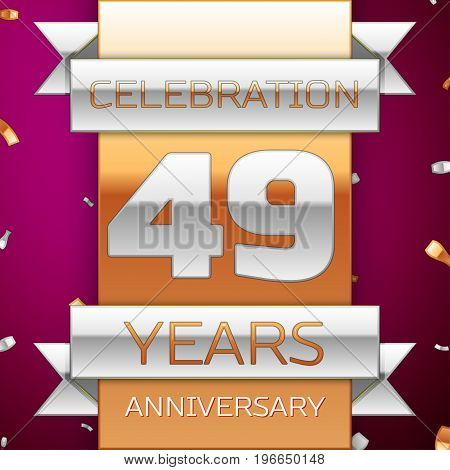 Realistic Forty nine Years Anniversary Celebration Design. Silver and golden ribbon, confetti on purple background. Colorful Vector template elements for your birthday party. Anniversary ribbon