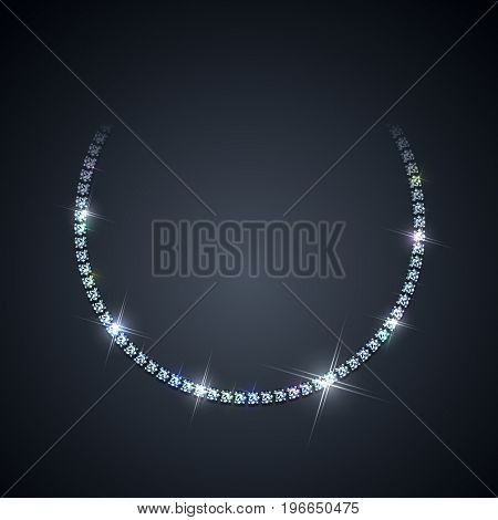Diamond necklace on dark background - raster version