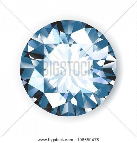 Shiny bright diamond on white background illustration. No transparencies.  - raster version