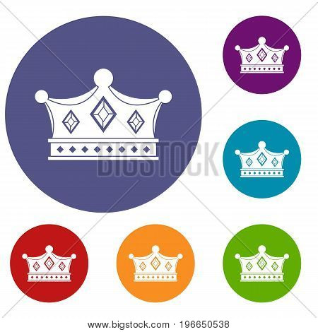 Prince crown icons set in flat circle red, blue and green color for web