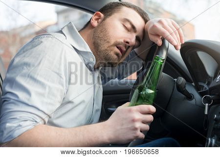 Drunk Man Driving Car And Falling Asleep