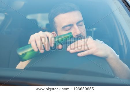 Man Driving Car And Falling Asleep