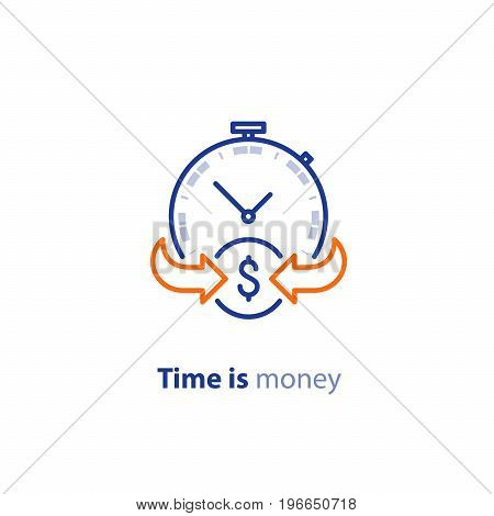 Financial services, time is money, cash back concept, return on investment, savings account, currency exchange, vector line icon