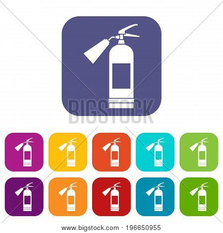 Fire extinguisher icons set vector illustration in flat style in colors red, blue, green, and other