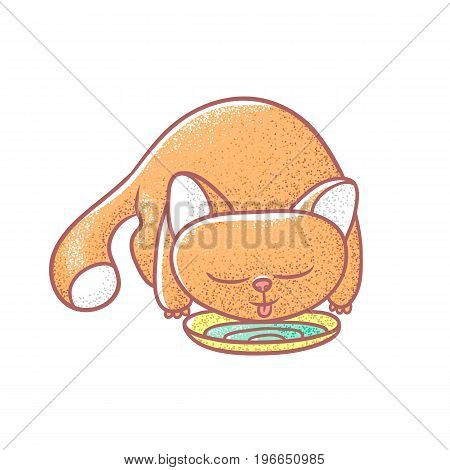 Textured color vector isolated illustration of cute emotional ginger kitten. The face of a cat expresses pleasure. Pussycat is drinking from bowls. Drawn lines and painted a picture of the pet