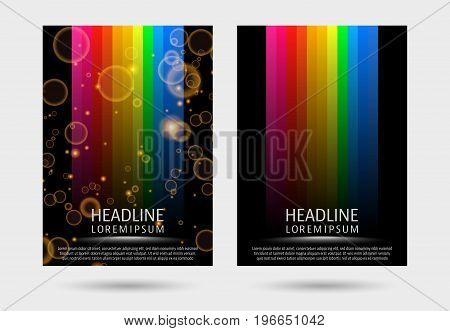 Colorful strired covers template. Design cover for magazine printing products party flyer presentation brochure or booklet. Vector illustration.