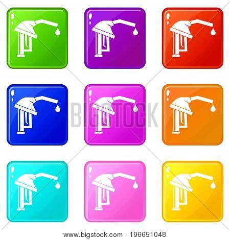 Gasoline pump nozzle icons of 9 color set isolated vector illustration