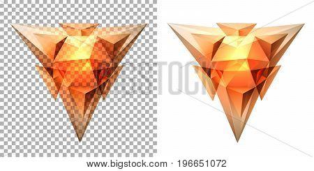 Vector transparent complex geometric shape based on tetrahedron. Orange