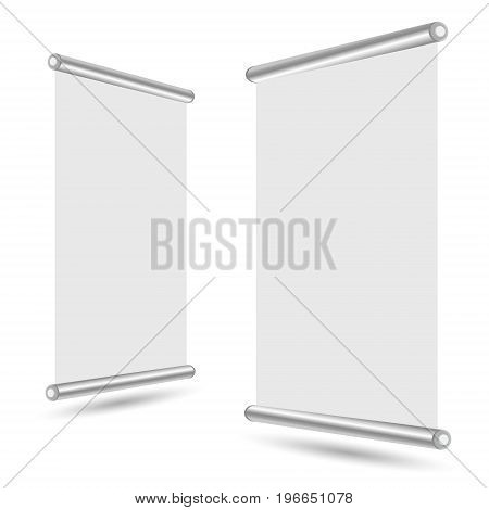 Blank roll-up banner stand template. Roll up banner display isolated on white background. Vector illustration.