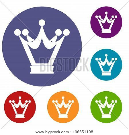 Princess crown icons set in flat circle red, blue and green color for web