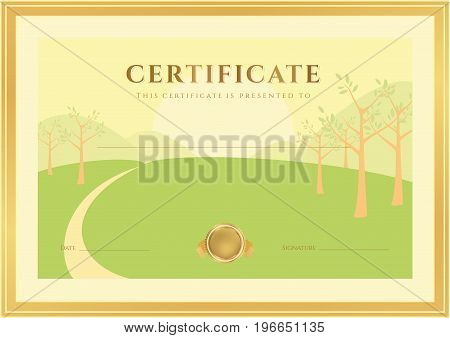 Horizontal Certificate of completion (template) with forest background (for children). Background usable for diploma, invitation, gift voucher or different awards. Vector
