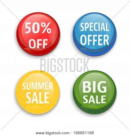 Sale buttons set isolated on white background. 50% off special offer summer sale big sale. Vector illustration.
