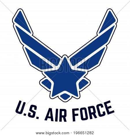 T-shirt print design. U.S. Air Force tshirt stamp. Printing and badge applique label t-shirts jeans casual wear. Vector illustration.