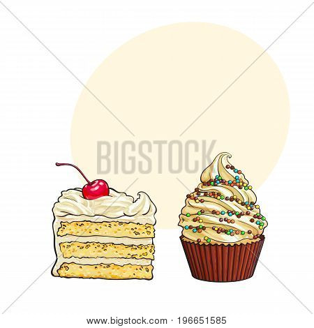 Hand drawn desserts - cupcake and piece of layered vanilla cake, sketch style vector illustration with space for text. Realistic hand drawing of cupcake and creamy cake desserts