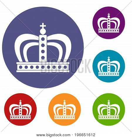 Monarchy crown icons set in flat circle red, blue and green color for web