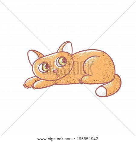 Textured color vector isolated illustration of cute emotional ginger kitten. The face of a cat expresses fright. Pussycat is pressed to the floor in fear. Drawn lines and painted a picture of the pet