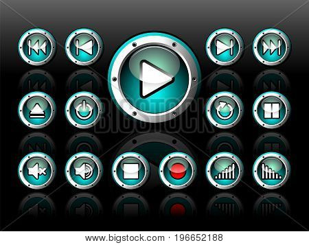 Vector Shiny Button Set For Musical Theme On A Dark Background.
