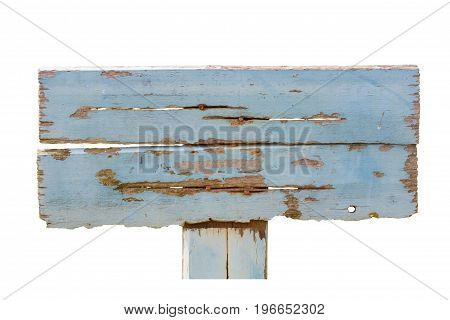 old pale blue wooden plank sign with rusty nails isolated on white background