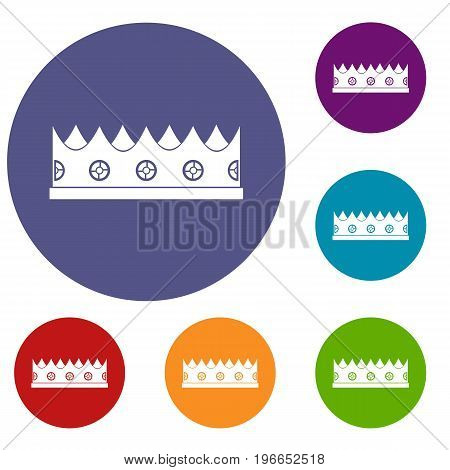 Little crown icons set in flat circle red, blue and green color for web