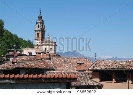 Carona, Switzerland - 1 november 2015: The ancient church in Carona on Ticino in Switzerland