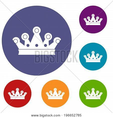 Royal crown icons set in flat circle red, blue and green color for web