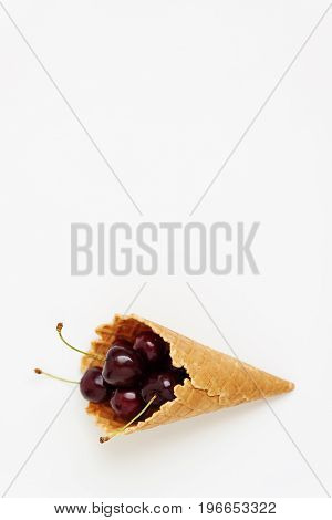 Waffle Cone With Fresh Cherry Berries, Top View, Isolated On White Background