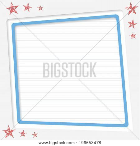 White ruled, striped copy paper, vector frame, text box with red stars