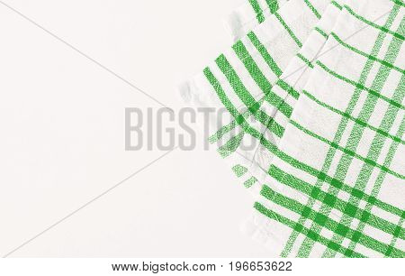 Green Cloth, A Kitchen Towel With A Checkered Pattern, On A White Background Isolated
