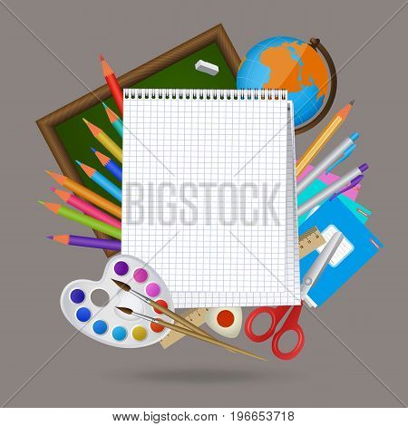 Back to school banner, poster, mockup design with blank squared notebook page and student items on the background, cartoon vector illustration. Back to school banner, mockup design with notebook page